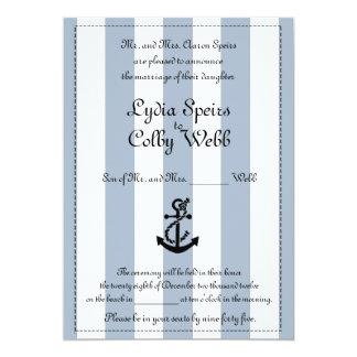 Anúncio náutico do casamento da listra convite 12.7 x 17.78cm
