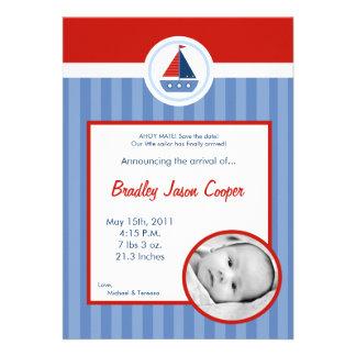 anúncio náutico do nascimento da FOTO do barco de Convites Personalizado