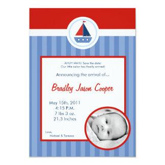 anúncio náutico do nascimento da FOTO do barco de Convite 12.7 X 17.78cm