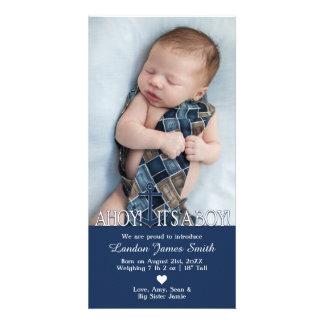 Anúncio náutico do nascimento do bebé com foto
