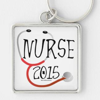 Anúncio novo 2015 da graduação da enfermeira chaveiro quadrado na cor prata