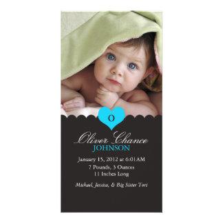 Anúncio novo do nascimento do bebê cartão com foto
