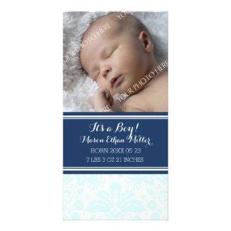 Anúncio novo do nascimento do bebê da foto azul do cartão com foto