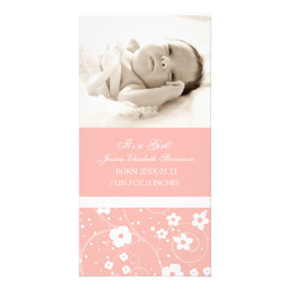 Anúncio novo do nascimento do bebê do modelo cor-d cartão com foto