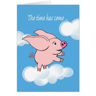 Anúncio novo do trabalho, porco com voo grande das