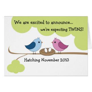 """Anúncio """"pássaros da gravidez dos gêmeos no ninho  cartão comemorativo"""