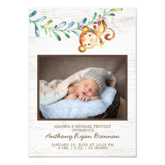 Anúncio pequeno do nascimento da foto do macaco da