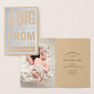 Cartão Metalizado Anúncio pequeno do nascimento do bebé do homem do