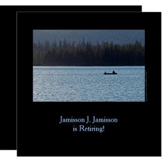 Anúncio, pescador e filho da aposentadoria no lago convite quadrado 13.35 x 13.35cm