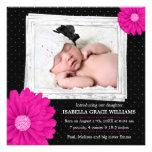 Anúncio preto cor-de-rosa do nascimento da foto da convite personalizados
