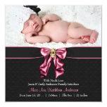 Anúncio preto cor-de-rosa do nascimento da foto do convite personalizados