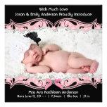 Anúncio preto cor-de-rosa do nascimento do bebé da convites