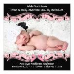 Anúncio preto cor-de-rosa do nascimento do bebé da convite quadrado 13.35 x 13.35cm