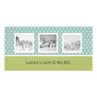 Anúncio rápido do nascimento com bolinhas bonitos cartão com foto