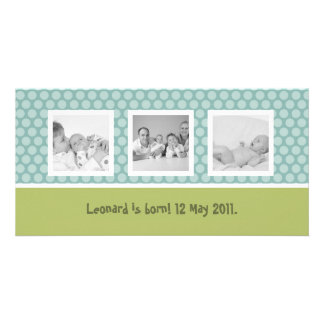 Anúncio rápido do nascimento com bolinhas bonitos cartao com foto