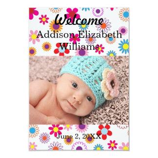 anúncio recém-nascido floral colorido convite 8.89 x 12.7cm