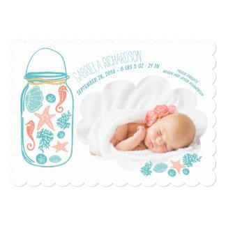Anúncio recém-nascido náutico do nascimento da convite 12.7 x 17.78cm