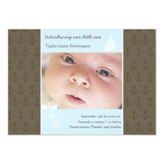 Anúncio recém-nascido pequeno da foto do bebê dos convite 12.7 x 17.78cm