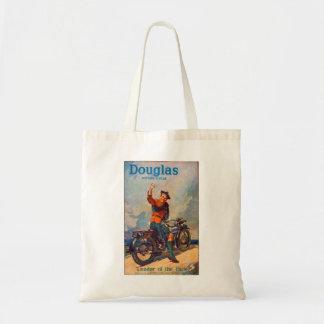 Anúncio retro da motocicleta de Scot Douglas do ki Sacola Tote Budget