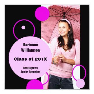 Anúncio roxo cor-de-rosa do baile de formatura ou convites personalizados