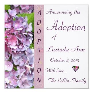 Anúncio roxo da adopção do Hydrangea Convite Quadrado 13.35 X 13.35cm