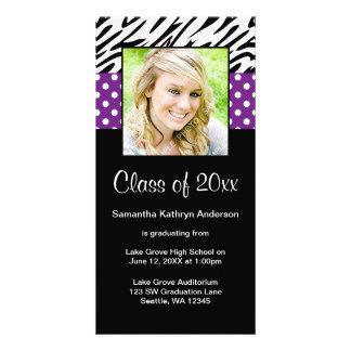 Anúncio roxo da graduação das bolinhas da zebra cartão com foto
