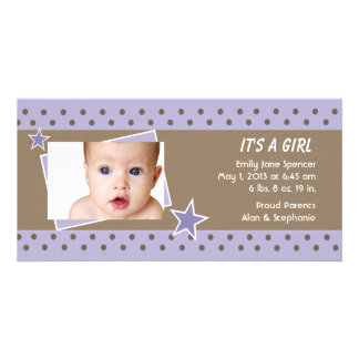 Anúncio roxo do nascimento da foto da estrela cartão com fotos