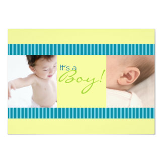 Anúncio simples do bebê das listras convite 12.7 x 17.78cm