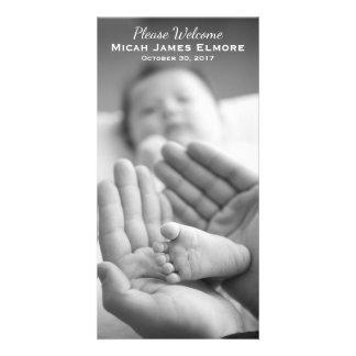 Anúncio simples do nascimento da foto da elegância cartão com foto