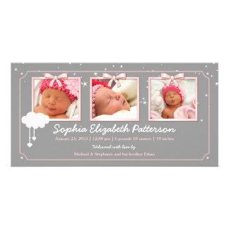Anúncio sonhador do nascimento do bebê da foto das cartao com foto personalizado
