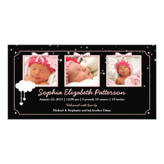 Anúncio sonhador do nascimento do bebê da foto das cartão com fotos personalizado