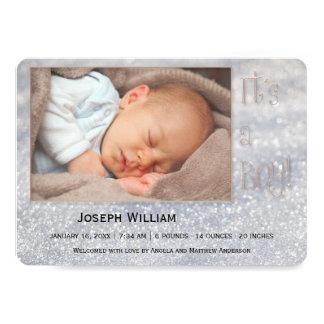 Anúncio Sparkling da foto do bebê do inverno da Convite 12.7 X 17.78cm