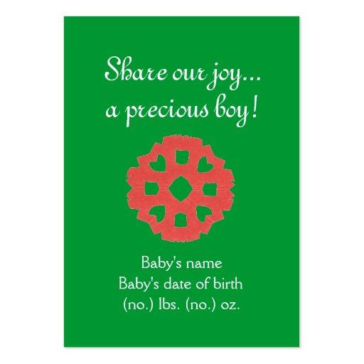Anúncio temático do nascimento do bolso do Natal Cartoes De Visitas