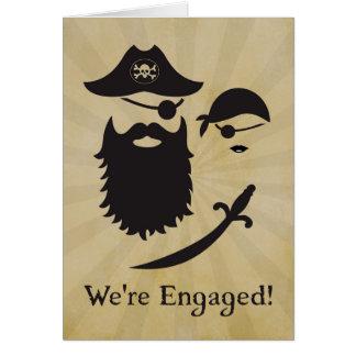 Anúncio temático do noivado do pirata com piratas cartão comemorativo