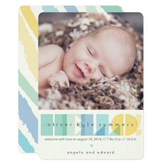 Cartão Anúncio transparente do nascimento da foto do azul