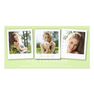 Anúncio triplo verde-claro da graduação da foto cartão com foto
