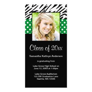Anúncio verde da graduação das bolinhas da zebra cartão com foto