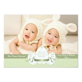 Anúncio verde do nascimento da foto da páscoa três convite 12.7 x 17.78cm