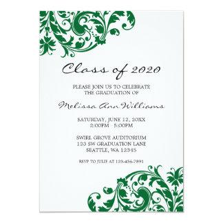 Anúncio verde e preto da graduação do redemoinho convite 12.7 x 17.78cm