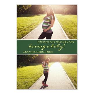 Anúncio verde moderno da gravidez da colagem da