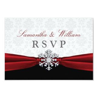 Anúncio vermelho do casamento no inverno RSVP da Convite 8.89 X 12.7cm