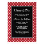 Anúncio vermelho e preto da graduação das bolinhas convite personalizados