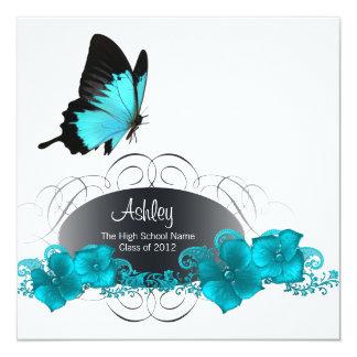 Anúncios azuis da graduação da borboleta da convite quadrado 13.35 x 13.35cm