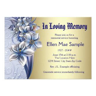 Anúncios azuis elegantes da cerimonia comemorativa convite personalizados