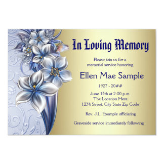 Anúncios azuis elegantes da cerimonia comemorativa convite 12.7 x 17.78cm