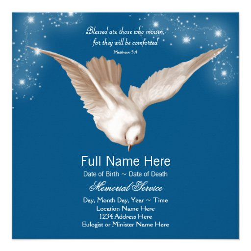 Anúncios da cerimonia comemorativa da pomba do azu convites personalizados