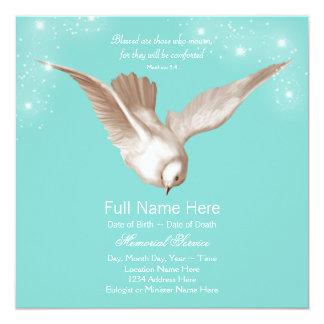 Anúncios da cerimonia comemorativa da pomba do convite quadrado 13.35 x 13.35cm