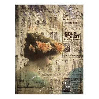 Anúncios da forma da mulher do vintage da arte do cartão postal