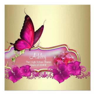 Anúncios da graduação da borboleta do rosa quente convite quadrado 13.35 x 13.35cm