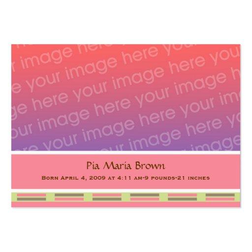 Anúncios do nascimento da foto do bebê modelos cartão de visita